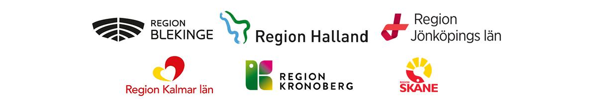 Logotyper för Region Blekinge, Region Halland, Region Jönköpings län, Region Kalmar län, Region Kronoberg, Region Skåne